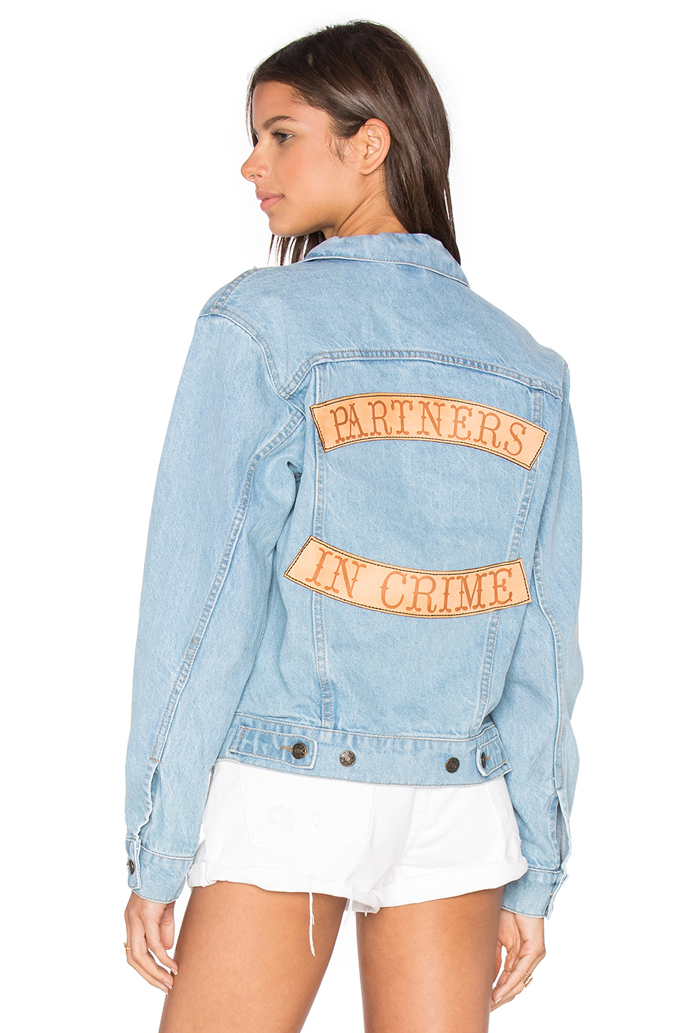 Understated Leather x Partners In Crime Denim Jacket in Sky Blue