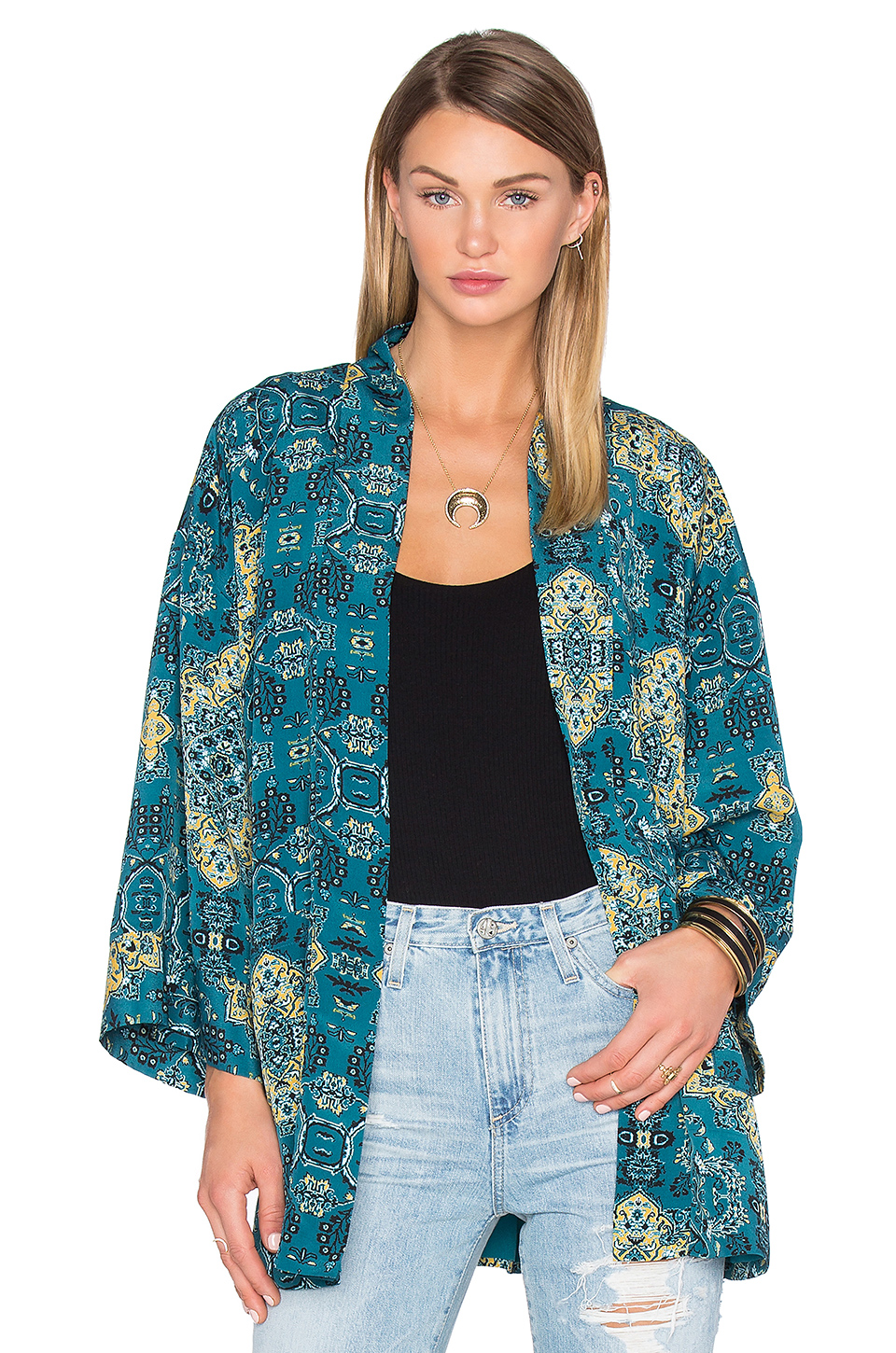House of Harlow 1960 x Kora Bed Jacket in Moroccan Tile Print