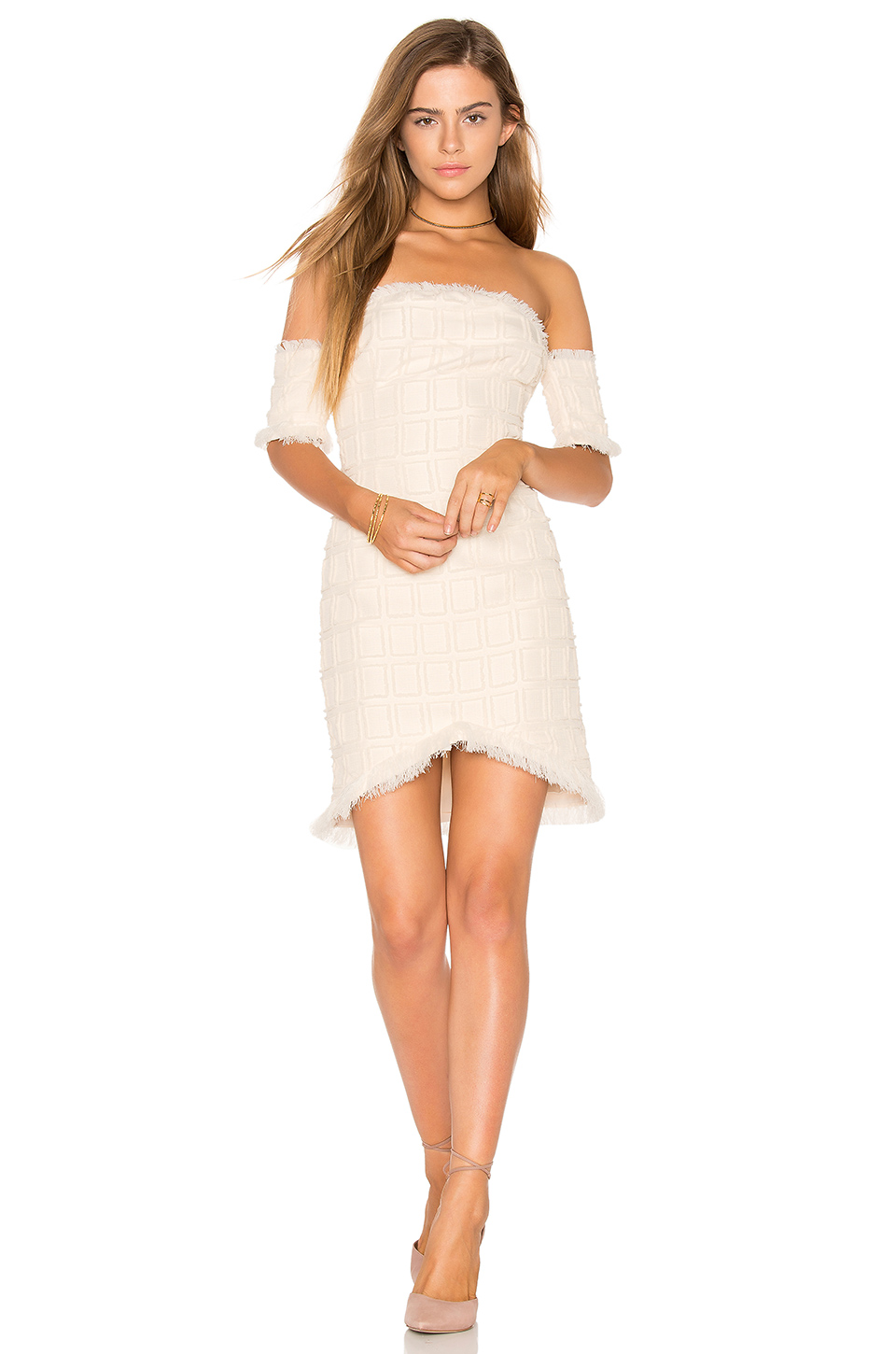 Endless Rose Frayed Trim Dress in Ivory