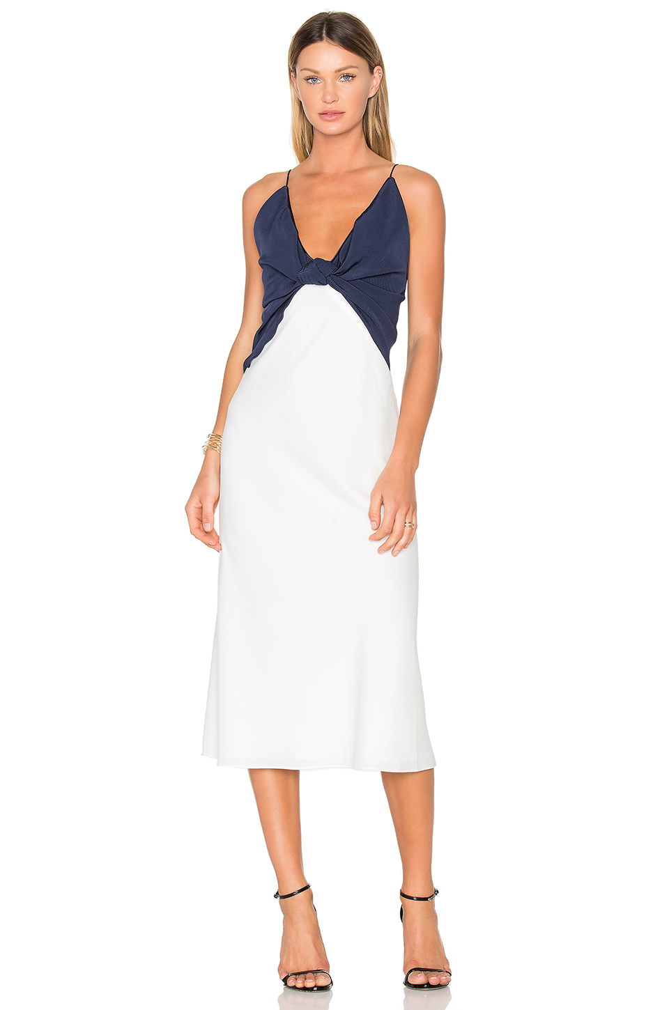 Christopher Esber Knotted Dress in Chalk & Navy