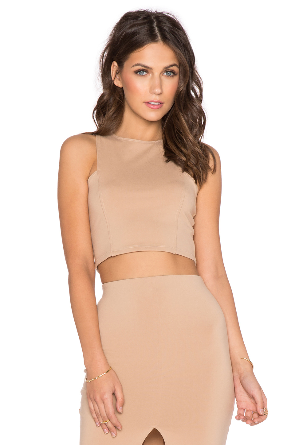 Donna Mizani Front Panel Crop Top in Camel
