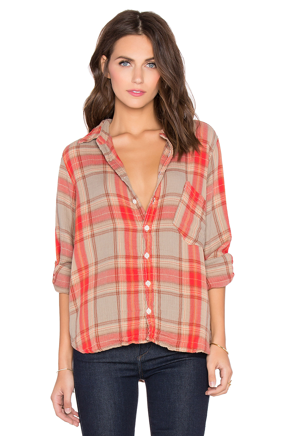 CP SHADES Jay Button Down in Red & Nude Plaid
