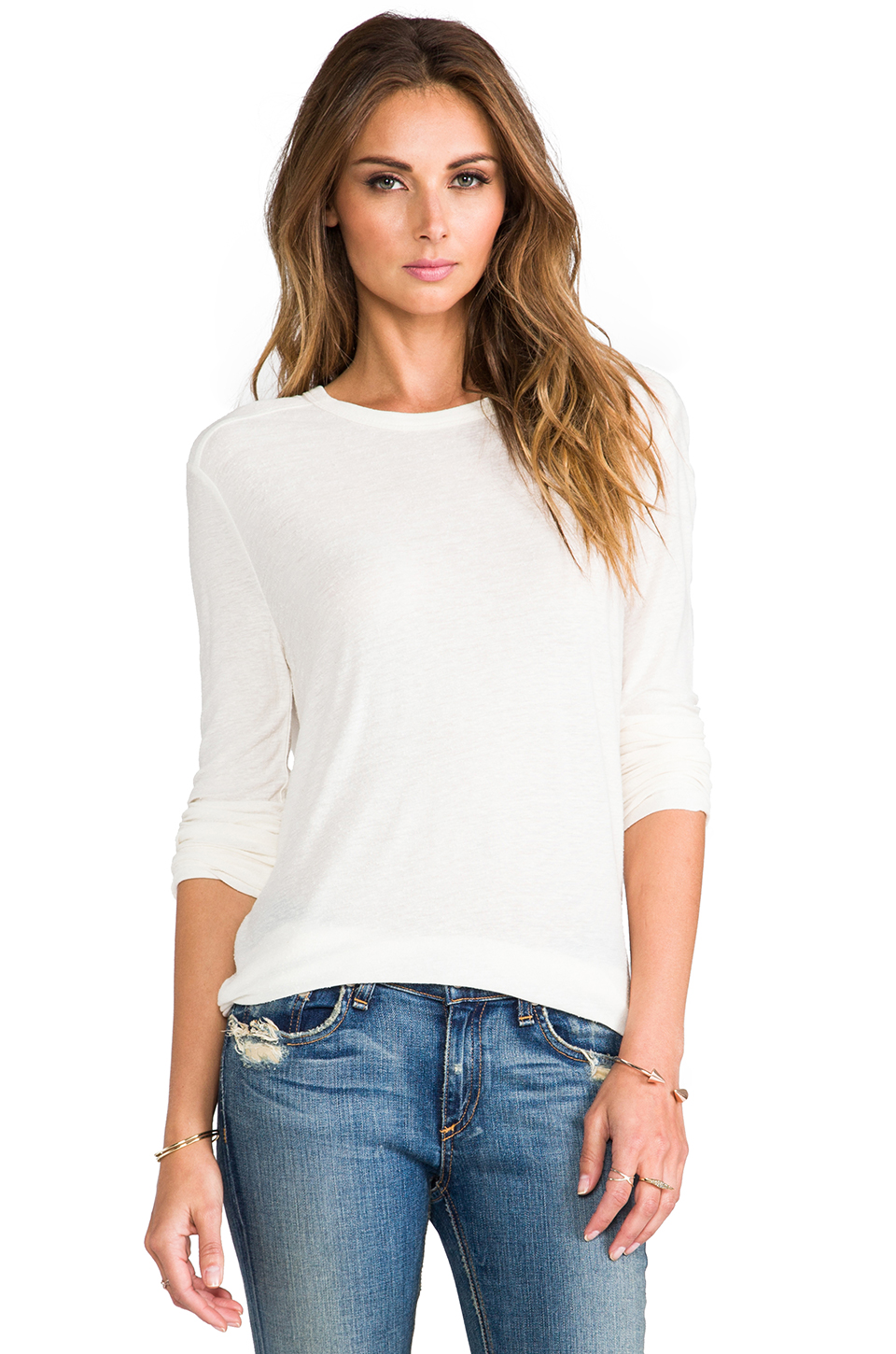 T by Alexander Wang Slub Classic Long Sleeve Tee in Ivory