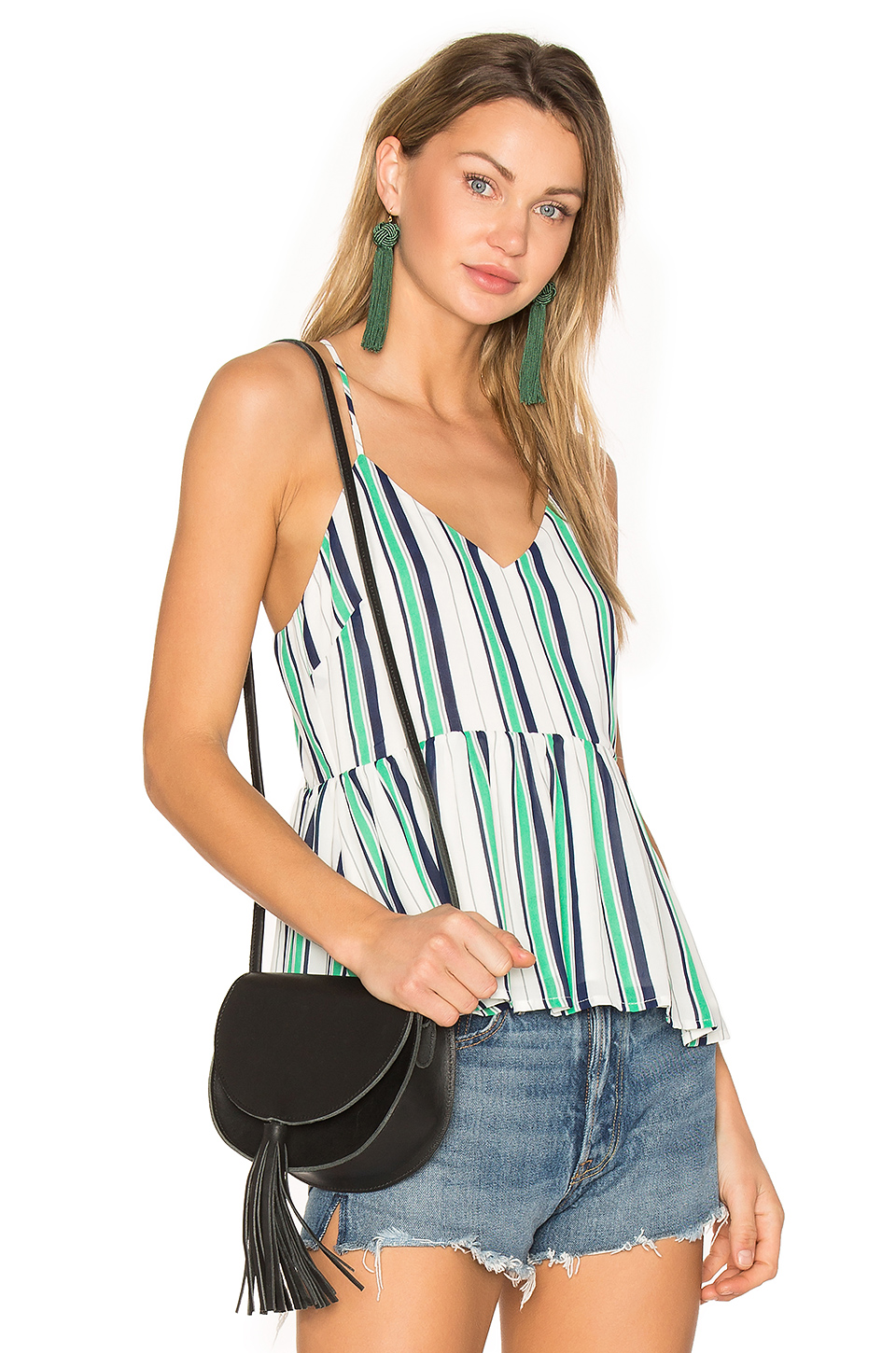 Line & Dot Cruz Top in Multi Green