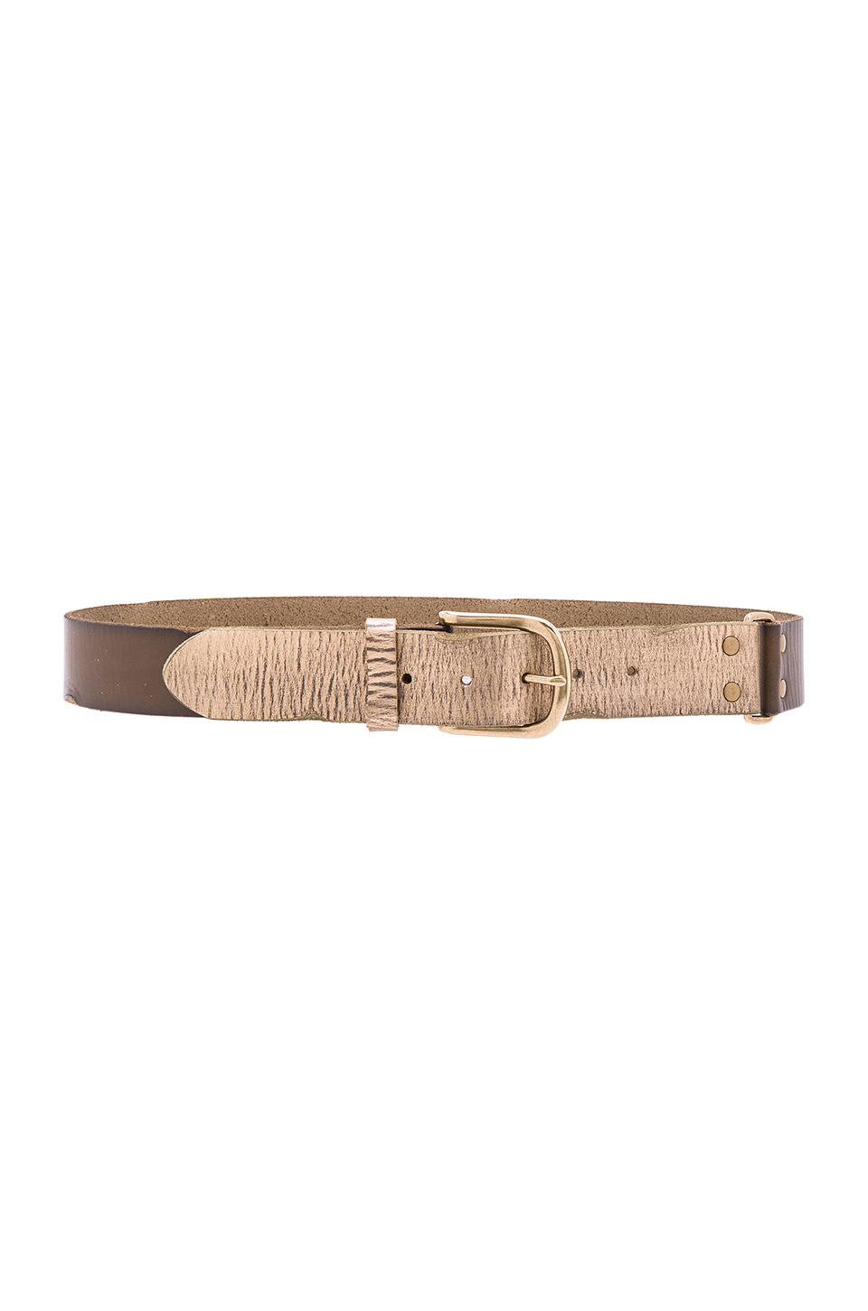 Linea Pelle Color Block Hip Belt in Olive & Gold